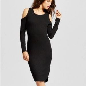 Women Ribbed Cold Shoulder Bodycon Dress